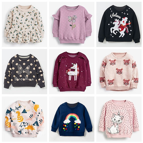 New 2020 Brand Quality 100% Terry Cotton Sweatshirts Baby Girl Clothes Children