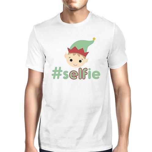 Hashtag Selfie Elf Mens White Shirt