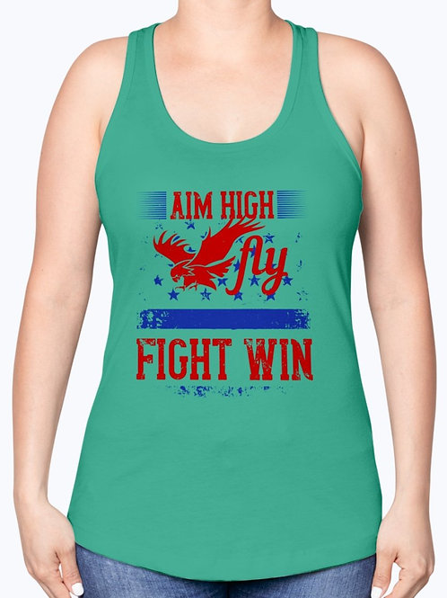 Aim High. Fly Fight Win-  Air Force -  Racerback Tank