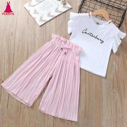 Summer 2020 Girls Clothing Sets Kids T-Shirt +Wide Leg Pants Suits Children