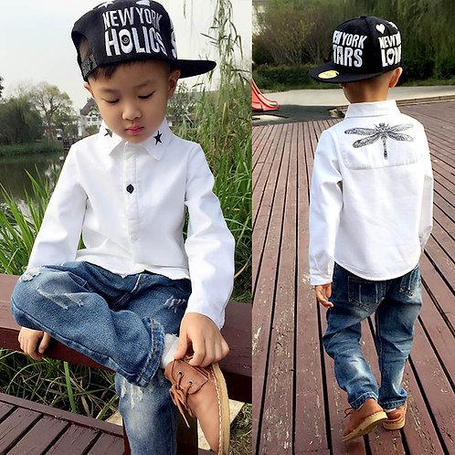 Children Fashion Shirt Kids Clothes Spring Autumn Boys Cotton White Blouses