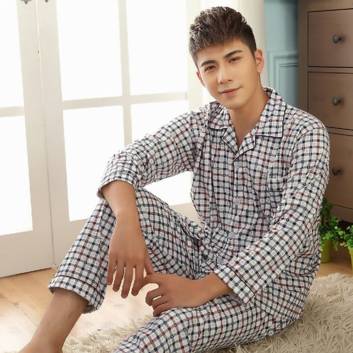 Thoshine Brand Spring Autumn Winter Men 100% Cotton Pajamas Sets of Sleep