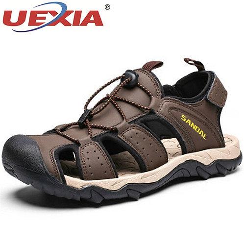 Men's Sandals Quality Leather Roman Beach Shoes Comfortable Breathable