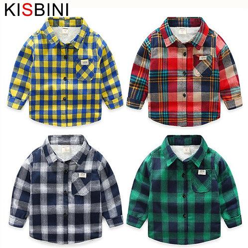 KISBINI Toddler Baby Boys Shirts Thick Warm Autumn Blouse for Boy Girls Plaid