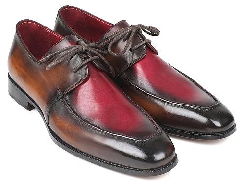 Paul Parkman Brown & Bordeaux Dual Tone Apron Derby Shoes