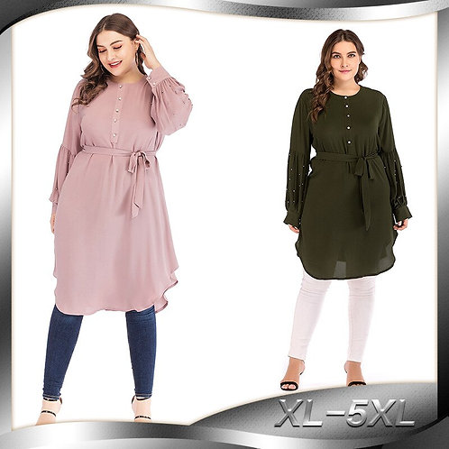 Loose Muslim Tops Long Shirts and Blouses Women O Neck Lace-Up Lantern Sleeve