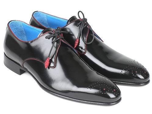 Paul Parkman Medallion Toe Black Derby Shoes