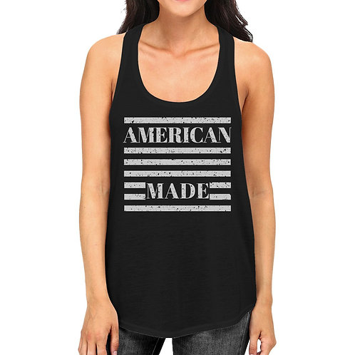 American Made Funny Women Black Sleeveless Top for Independence Day