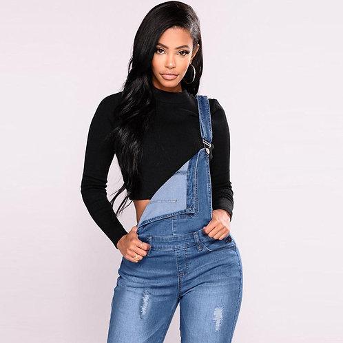 Women Denim Ripped Dungarees High Waist Long Jeans Pencil Pants Jumpsuit