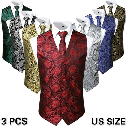 3pc Sets/Mens Suit Vest+Tie+Pocket Square/Fashion Jacquard Paisley Tuxedo Vest