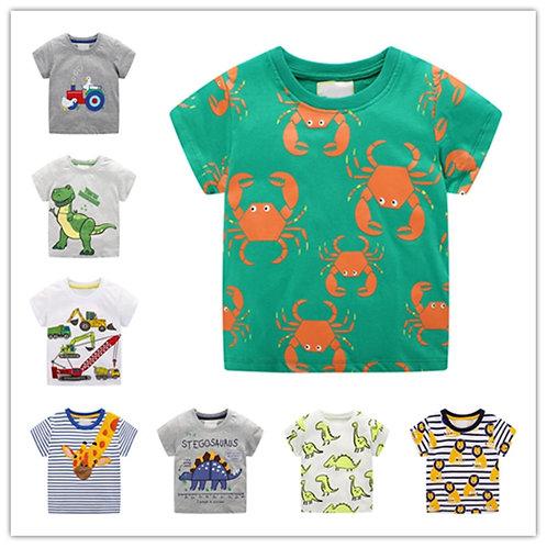 Wholesale T-Shirt for Baby Boys Animal Print Dinosaur Boys T Shirt for Kids Tops