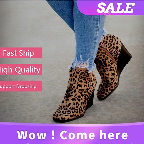 Leopard Print Women Suede Ankle Boots High Heel