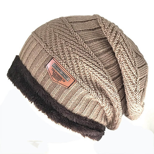 Men's Hat Knit Wool Hat Winter Plus Velvet Warm Cover Men's Outdoor Cap Warm
