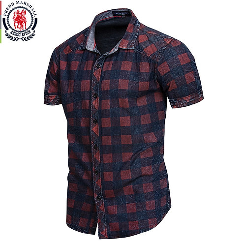 Short Sleeve Casual Business Plaid Shirts 100% Cotton