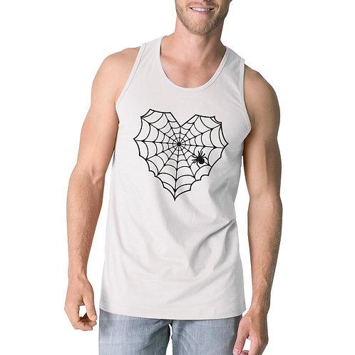 Heart Spider Web Mens White Tank Top