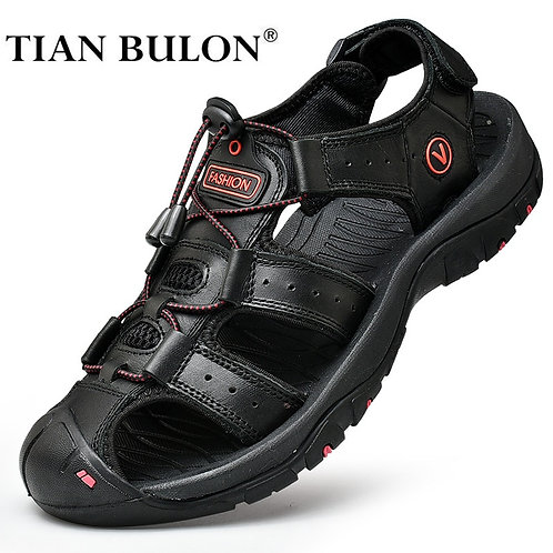 Summer Men Sandals Genuine Leather Casual Shoes