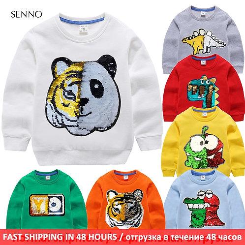 Kids Boys Hoodies Baby Sweatshirt With Sequin Autumn Children Sweatshirt