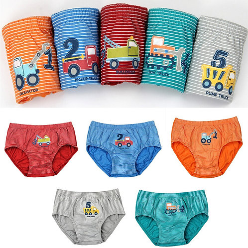 For Boys Children Panties Striated Cartoon Cotton Material Breathable Briefs
