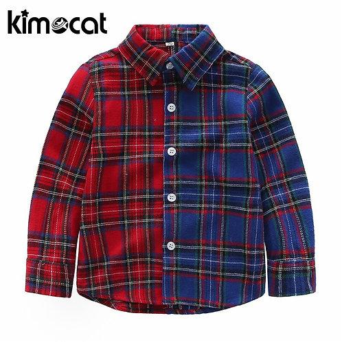 Kimocat New Children Boys Shirts Fashion Classic Casual Plaid 100% Cotton Kids