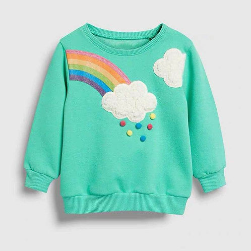Little Maven 2-7Years Autumn Rainbow Embroidery Toddler Kids Baby Girl