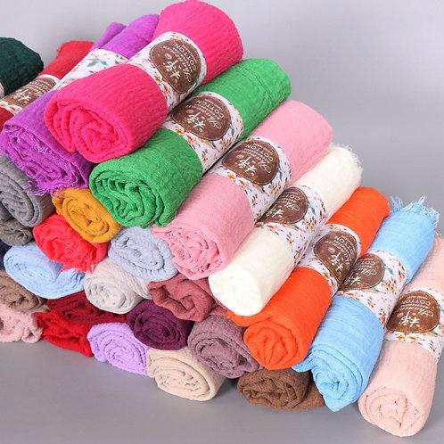 10pcs/Lot Plain Wrinkle Wrap Cotton Viscose Long Shawl Scarf Women Crinkle Hijab