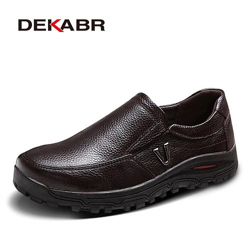Men's Genuine Leather Business Dress Moccasins Flats Slip on Casual Shoes