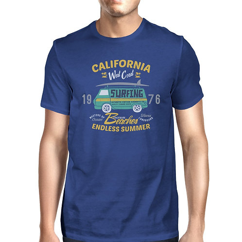 California Beaches Endless Summer Mens Royal Blue Shirt