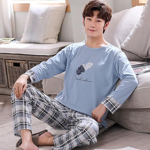 Plus Size L-4xl Full Cotton Pyjamas Men Pijamas Para Hombre Long-Sleeve Casual