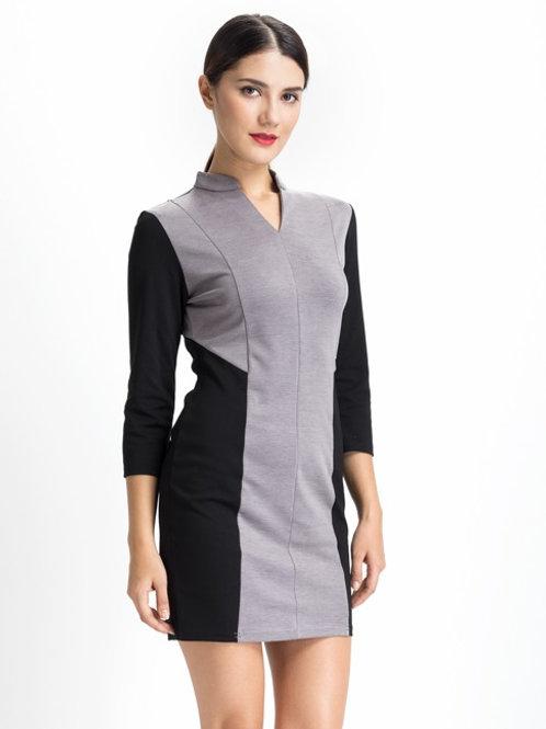 Grey Color Block Work Dress
