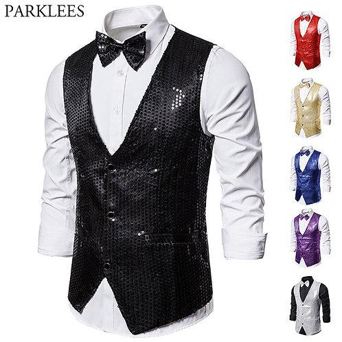 Black Full Waistcoat Slim Fit v Neck Shiny Glitter Vests Mens Party Wedding