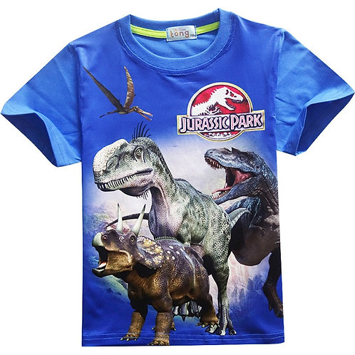 Boys T-Shirt Cartoon Jurassic Park Clothes Kids Jurassic World Dinosaur Print