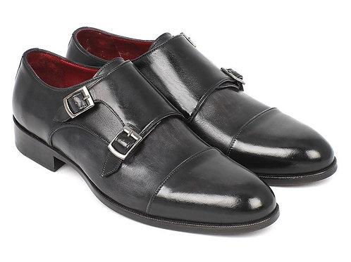 Paul Parkman Men's Cap-Toe Double Monkstraps Gray & Black