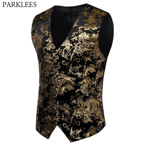 Mens Gold Metallic Paisley Printed Steampunk Vest Single Breasted v Neck Wedding