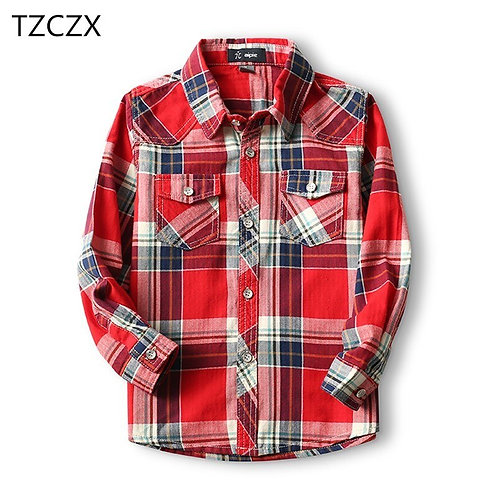 Hot Sale Children Shirts Fashion Classic Casual Plaid Cotton 100% Boys Shirts
