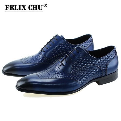 Italian Genuine Leather  Blue Black Wedding Oxford Lace-Up Office Business
