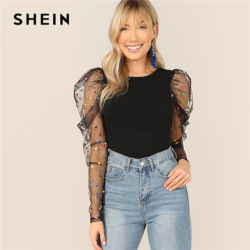 SHEIN Black Colorful Dot Puff Shoulder Mesh Gigot Sleeve Skinny  O-Neck T-Shirt