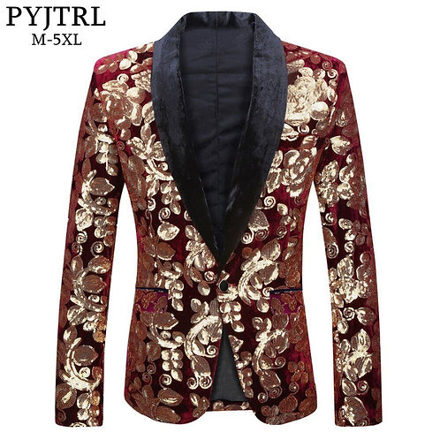 Male Fashion Shawl Lapel Wine Red Velvet Gold Flowers Sequins Blazer/ Plus Size