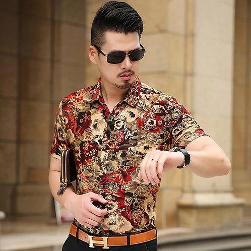 Floral Print Shirt Men 2017 Brand New Gold Bronzing Short