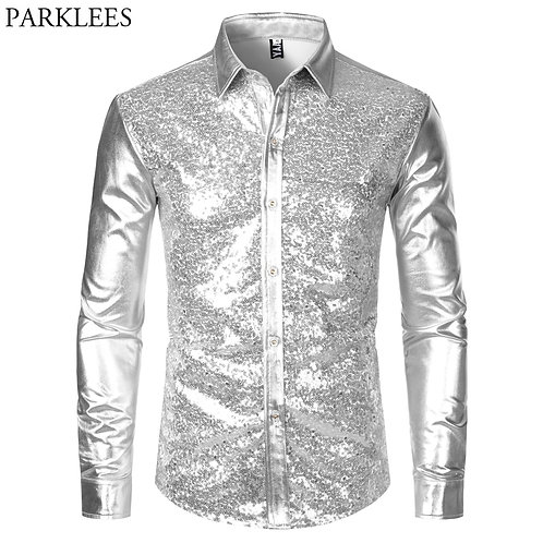 Silver Metallic Sequins Glitter Shirt - Formal & Party. See chart for sizes