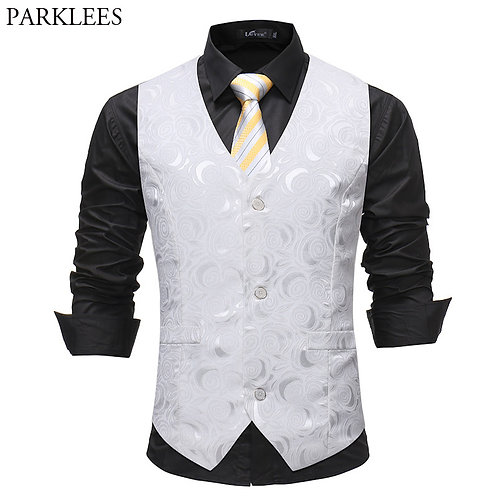 Mens Brand Solid White Rose Suit Vest 2018 Luxury Single Breasted Sleeveless