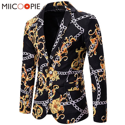 Fashion Gold Chain Print Men's Blazers and Suit Jackets
