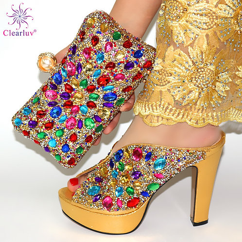 New Arrival Gold Color African Women Matching Italian Shoes