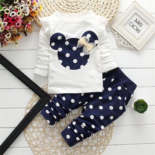 2020 New Kids Clothes Girl Baby Long Rabbit Sleeve Cotton Minnie Casual Suits
