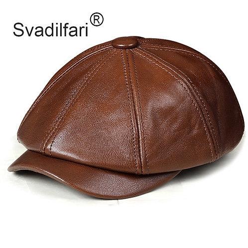 Men's Cowhide Leather Beret Elegant Fashion
