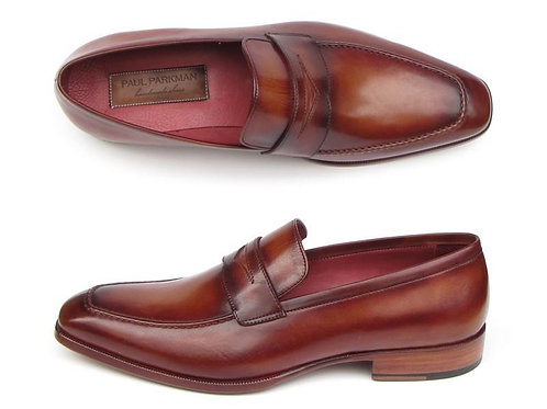 Paul Parkman Men's Penny Loafer Tobacco & Bordeaux Hand-Painted Shoes
