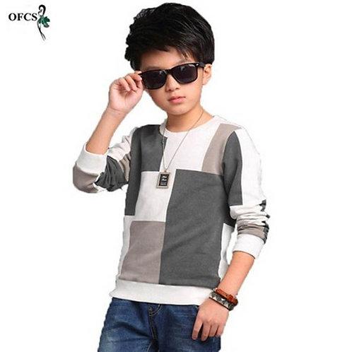 Retai New Leisure Kids Children's Clothing, Boy Autumn Checked Knit Sweater