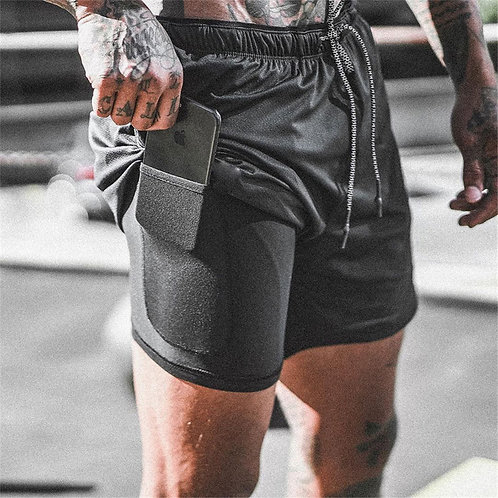 Double Layer Jogger Shorts Men 2 in 1 Short Pants Gyms Fitness Built-In Pocket