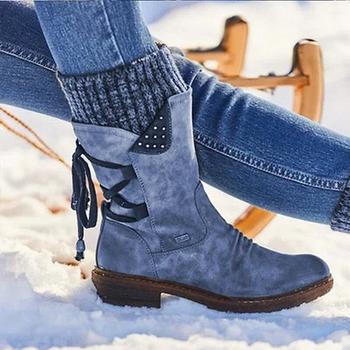 Women's Mid Calf Boots Ladies Shoes  Snow Boots  Leather Solid Sewing Platform