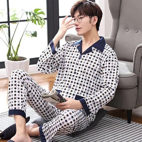 New Men's Pajamas Long-Sleeved Autumn and Winter Home Service Knit Cotton Youth