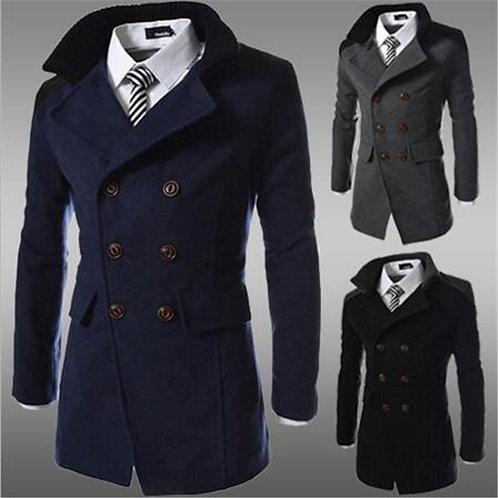 Fashion Slim Woolen Coats Men Steampunk Trench Coat Men Casual